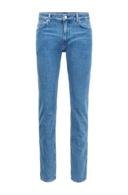 Jeans slim fit in denim italiano stone-washed, Blu