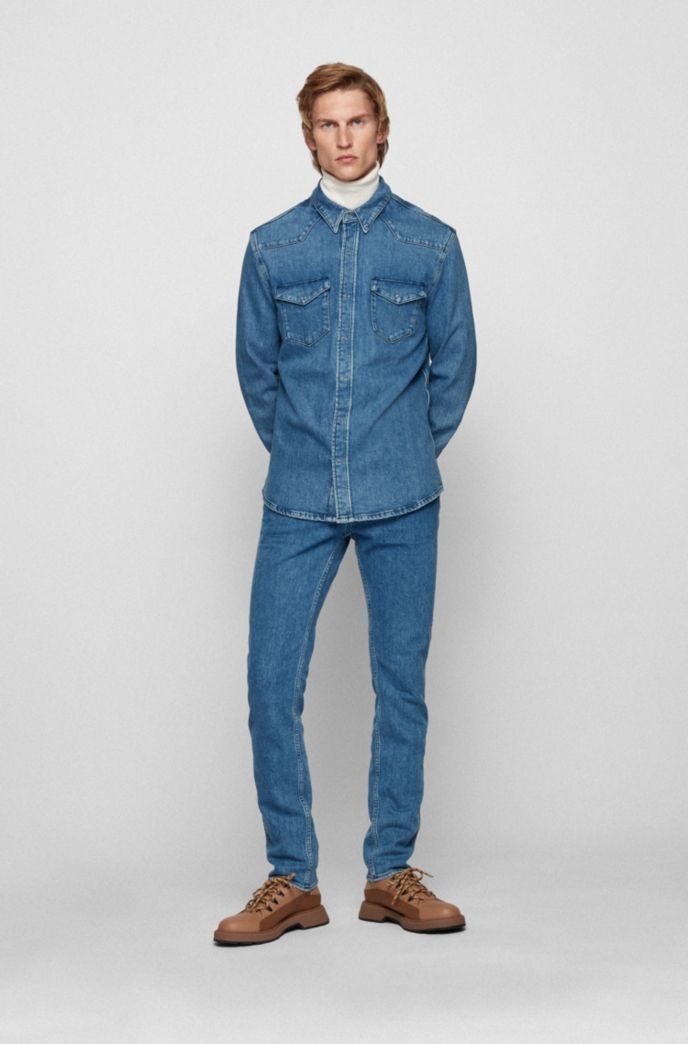 Jeans slim fit in denim italiano stone-washed