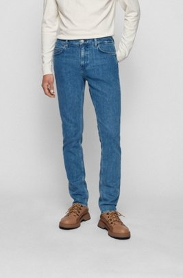 Jeans slim fit in denim italiano stone-washed, Blu