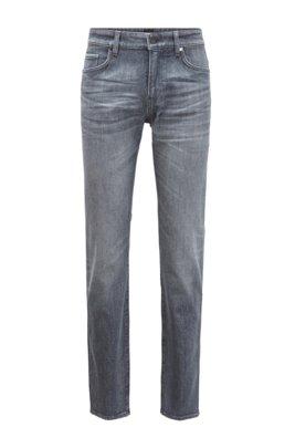 Slim-fit jeans in grey comfort-stretch denim, Silver