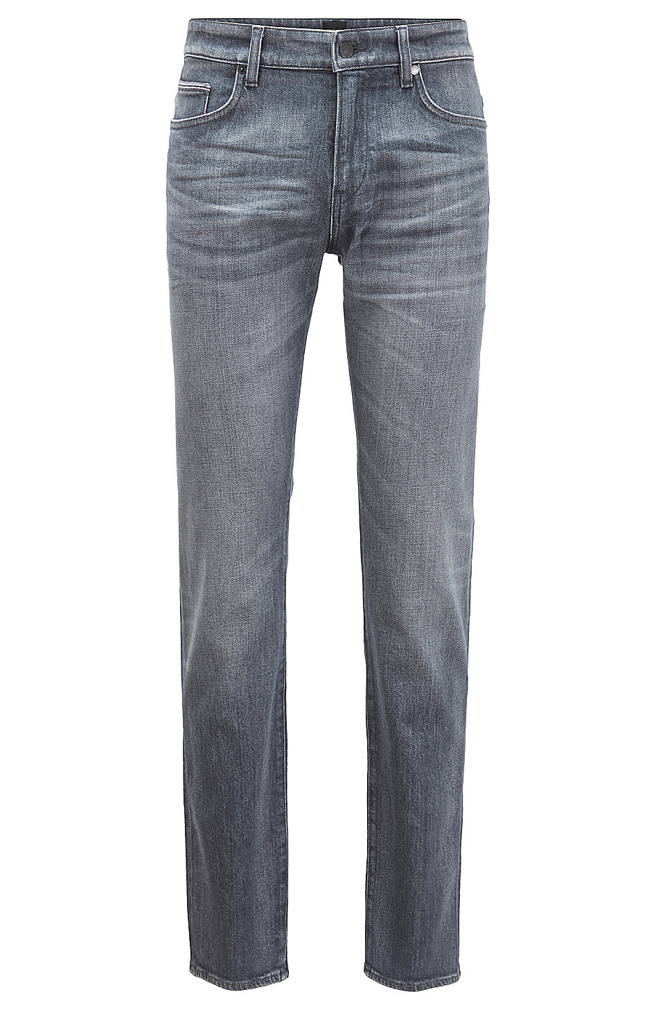 BOSS - Slim-fit jeans in grey comfort-stretch denim