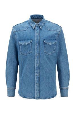 Relaxed-Fit Hemd aus Denim mit Brusttaschen, Blau