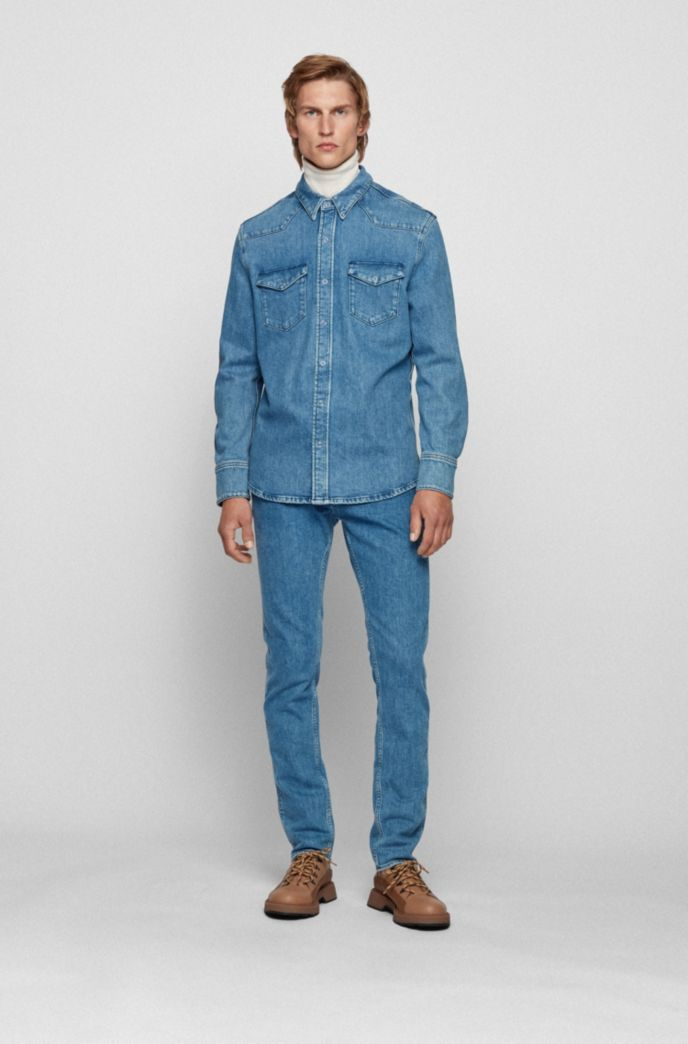 Relaxed-fit denim shirt with chest pockets