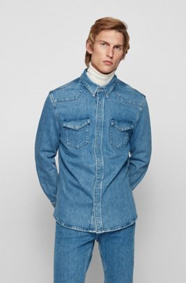 Relaxed-fit denim shirt with chest pockets, Blue