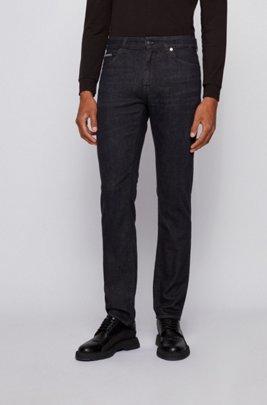 Regular-fit jeans in deep-black Italian denim, Black