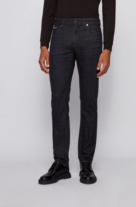 Jeans regular fit in denim italiano nero intenso, Nero