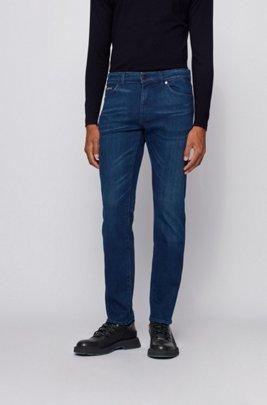 Regular-fit jeans in super-stretch blue Italian denim, Blue