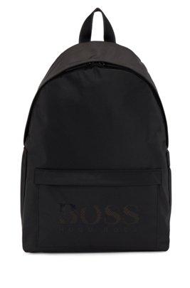 Logo backpack in structured nylon, Black