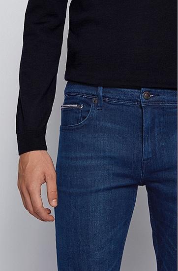 蓝色超弹意大利牛仔布修身牛仔裤,  420_中蓝色