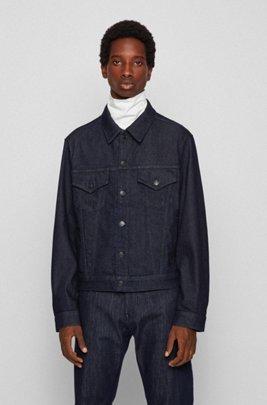 Trucker-style jacket in Italian denim, Dark Blue