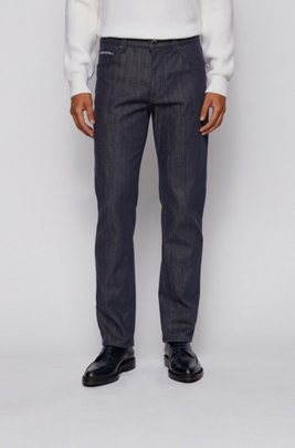 Relaxed-fit jeans in stay-blue stretch denim, Dark Blue