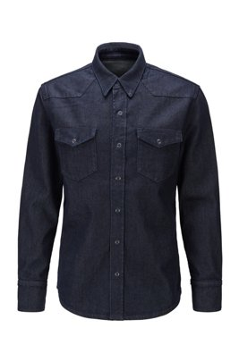 Relaxed-fit shirt in Italian stretch denim with wool, Dark Blue