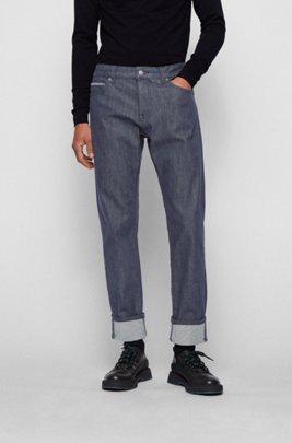 Regular-fit jeans in stay-blue comfort-stretch denim, Dark Blue