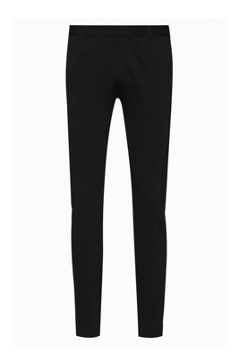 Extra-slim-fit stretch-jersey chinos with logo label, Black