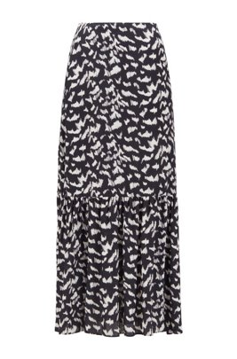 Printed maxi skirt with tiered hem, Patterned