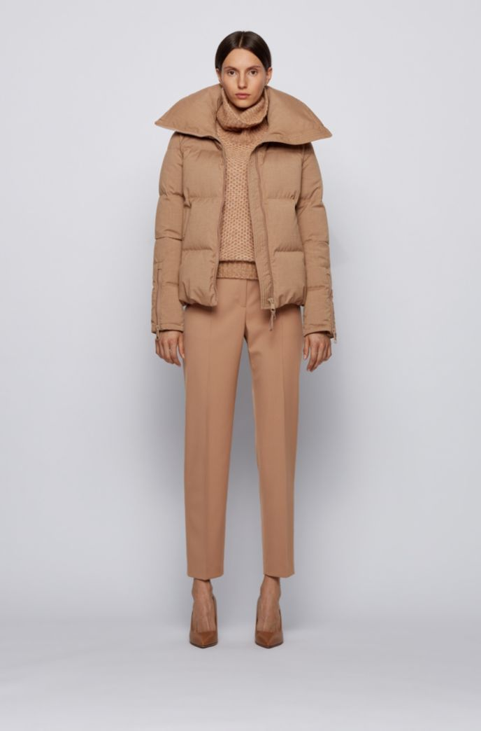 Melange down jacket with voluminous collar