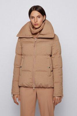 Melange down jacket with voluminous collar, Light Brown