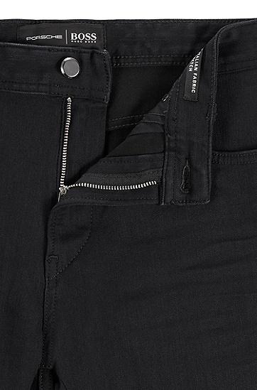 黑色意大利牛仔锥形牛仔裤,  001_黑色