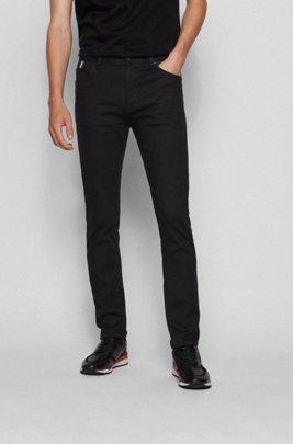 Tapered-fit jeans in black-black Italian denim, Black