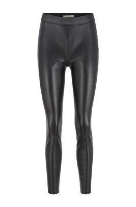 Slim-fit faux-leather trousers with side inserts, Black