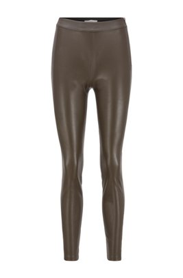 Slim-fit faux-leather trousers with side inserts, Light Green