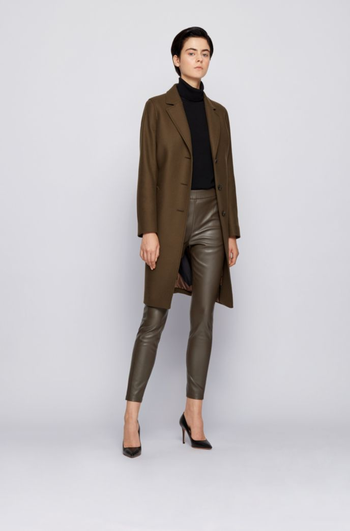 Slim-fit faux-leather trousers with side inserts
