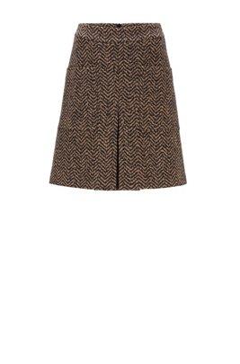 High-waisted skirt in a virgin-wool blend, Patterned