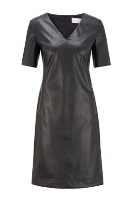 Shift dress in stretch faux leather with zip detailing, Black