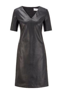 Vestido recto en piel sintética elástica con detalle de cremalleras, Negro