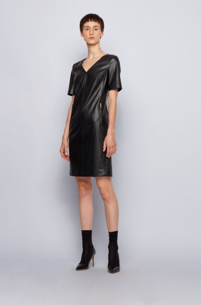 Shift dress in stretch faux leather with zip detailing