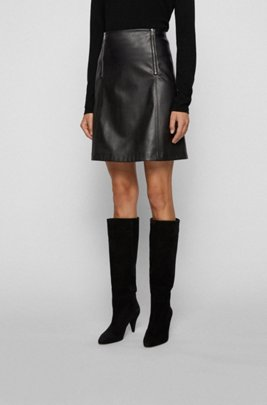 A-line skirt in faux leather with zip detailing, Black