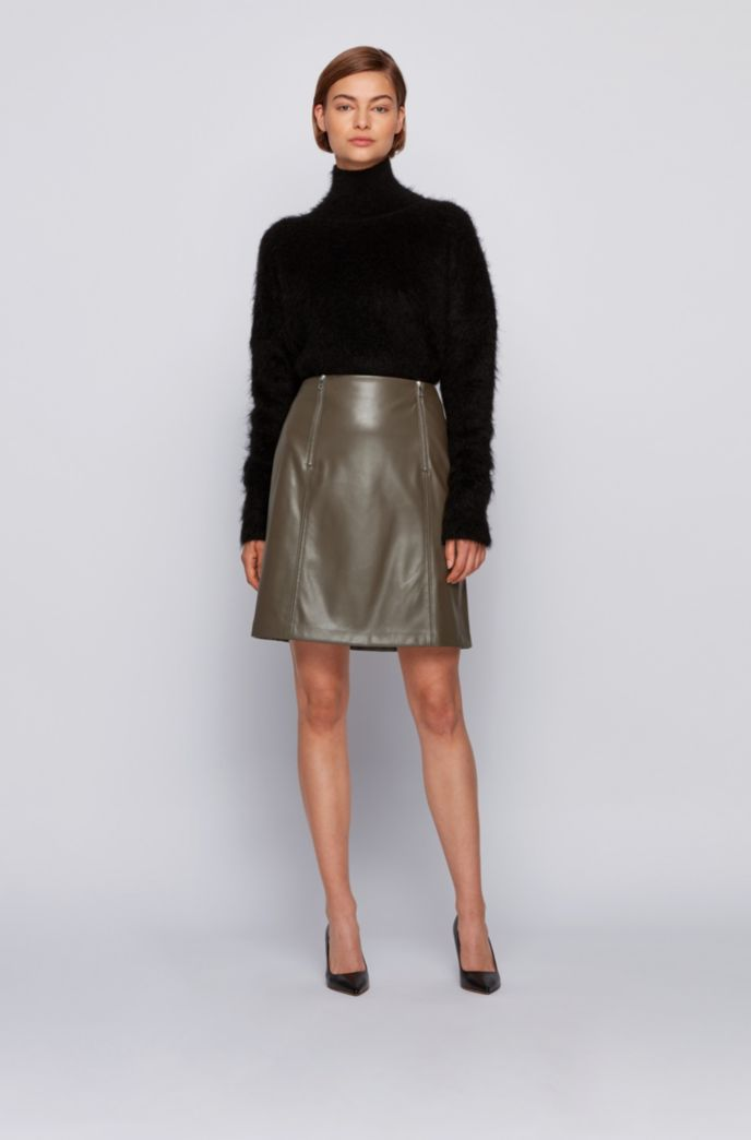 A-line skirt in faux leather with zip detailing