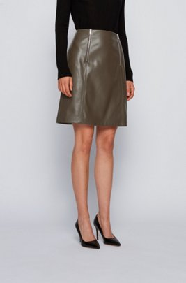 A-line skirt in faux leather with zip detailing, Light Green