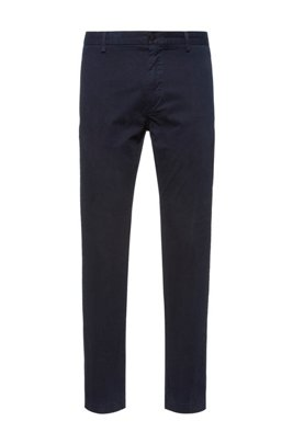 Chino Slim Fit en gabardine de coton stretch, Bleu foncé