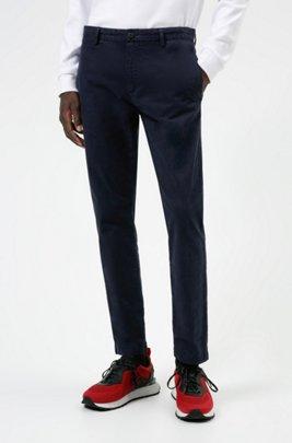 Slim-Fit Chino aus elastischer Baumwoll-Gabardine, Dunkelblau