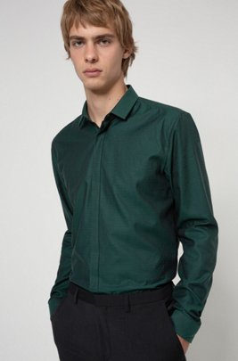 Extra-slim-fit cotton shirt with herringbone structure, Dark Green