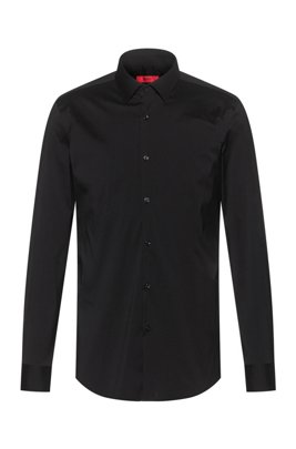 Slim-fit shirt in stretch cotton-blend canvas, Black