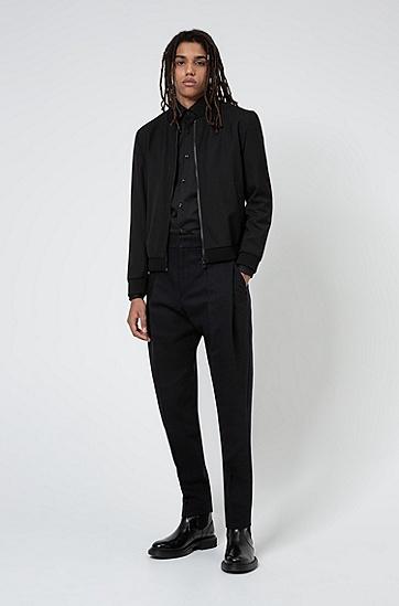 弹力棉质混纺帆布修身版衬衫,  001_黑色