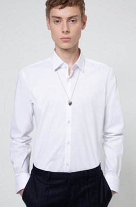 Slim-fit shirt in stretch cotton-blend canvas, White