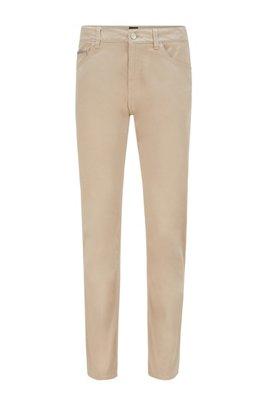 Regular-fit jeans in overdyed satin-stretch denim, Light Beige