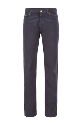 Jean Regular Fit en denim stretch satiné surteint, Bleu foncé
