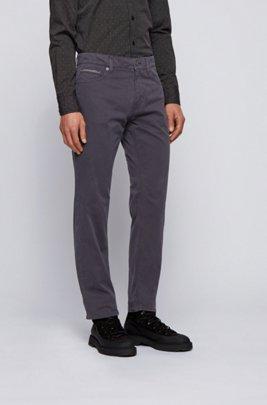 Regular-fit jeans in overdyed satin-stretch denim, Dark Blue