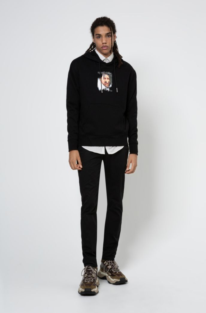 Slim-Fit Hemd aus elastischem Baumwoll-Mix mit filigranem Print