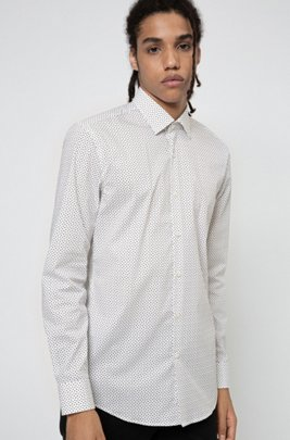 Slim-Fit Hemd aus elastischem Baumwoll-Mix mit filigranem Print, Silber