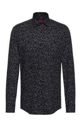 Camisa slim fit estampada de mezcla de algodón elástico, Negro