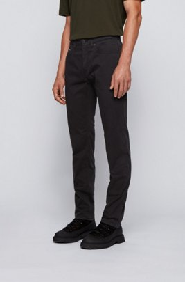Slim-fit jeans in overdyed stretch-satin denim, Black
