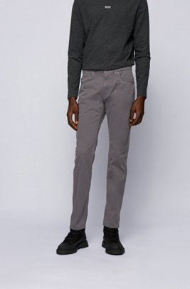 Slim-fit jeans in overdyed stretch-satin denim, Grey
