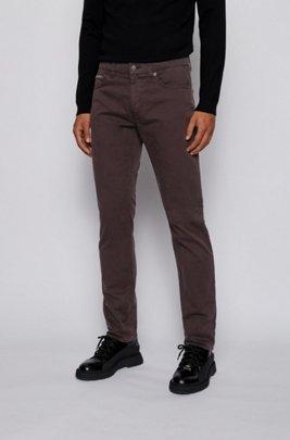 Slim-fit jeans in overdyed stretch-satin denim, Dark Brown