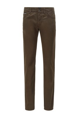 Slim-fit jeans in overdyed stretch-satin denim, Light Green