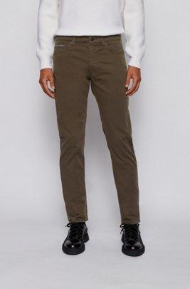 Slim-fit jeans in overdyed stretch-satin denim, Light Green